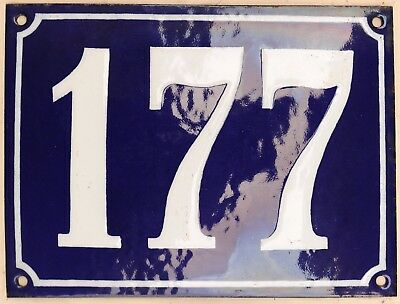 Large old French house number 177 door gate plate plaque enamel steel metal sign