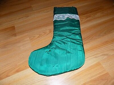 """Vintage Green Christmas Holiday Stocking 17"""" Trimmed with Lace EUC"""