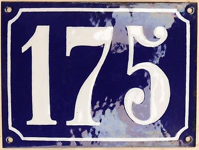 Large old French house number 175 door gate plate plaque enamel steel metal sign