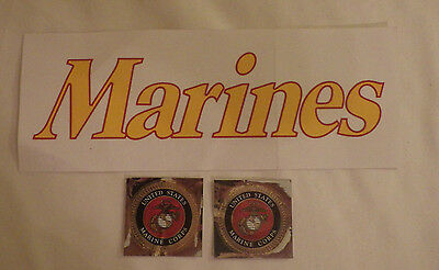 "Lot of 3 Marine Marines Stickers Sticker Decals Decal New 10"" Long 2"" Long"