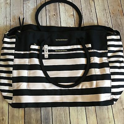Victoria's Secret Large Beach Weekend Tote Bag Pink & Black Stripe NWT (A13)
