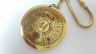 40 year Calendar Solid Brass Nautical Keyring