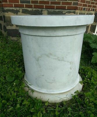 """Solid Block Marble Pedestal White with Grey 32"""" x 32"""""""