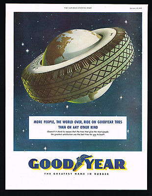 1951 Goodyear Rubber Tire Planet Earth Vintage Color Print Ad