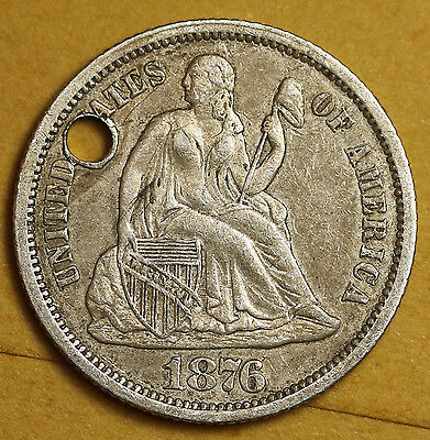 """1876 Liberty Seated Dime.  Love Token.  """"L.L.S.""""  94415"""