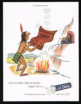 1955 Life Savers Pep O Mint Candy Native American Indian Smoke Signals Print Ad
