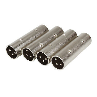 4 Pack XLR 3-Pin Male to Male DMX Terminator Daisy Chain Plugs Adapter