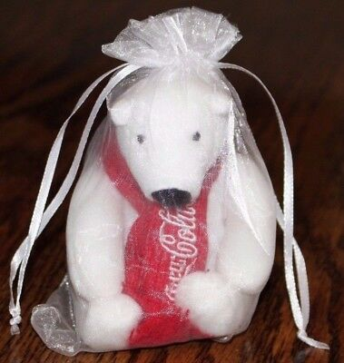 New 2016 Coca Cola Brand Polar Bear Plush Red Knit Scarf Coke Christmas Bag 4""