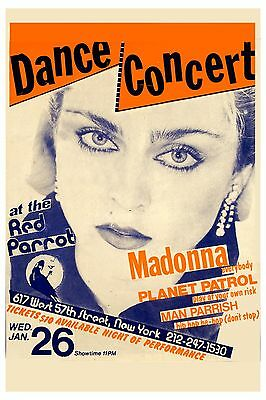 Madonna at The Red Parrot in New York City Concert Poster 1983  12x18