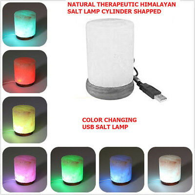 Himalayan Natural Crystal Salt Lamp, USB, LED, 4 inch On Wooden Base Cylinder