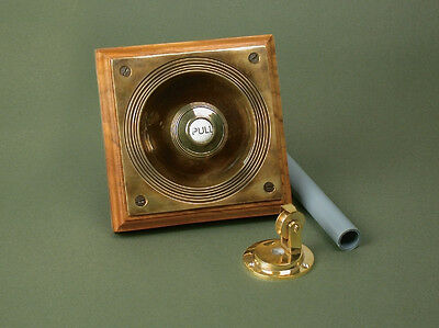 Antique Solid Brass Claverley Butlers Bell Pull Mounted On An Oak Backboard