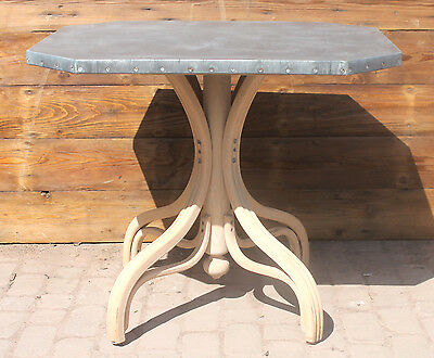 Reclaimed Antique Bentwood Table Bases With Zinc Table Tops  Warwick Reclamation