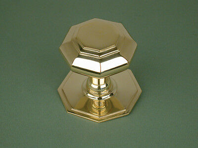 Small Antique Georgian Solid Brass Octagonal Door Pull Knob / Handle Warwick Rec