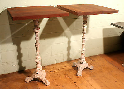 Reclaimed Tall Mahogany Bistro / Bar Table With Reclaimed C19th Cast Iron Stand