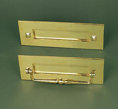 Traditional Solid Brass Letter Plate / Letterbox With Clapper Pull Knocker
