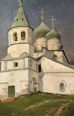Large Antique German/ Russian Signed Oil Painting - View Of Orthodox Church