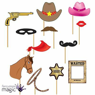 Pack 12 Cowboy Wild West Western Hat Picture Photo Booth Props Wedding Party Set