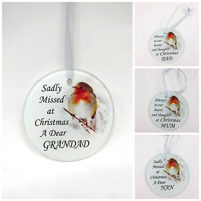 Robin Glass Christmas Tree Hanging Plaque/Decoration Memorial Xmas Bauble