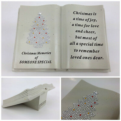 Diamante Christmas Tree Memorial Book–Raised Plaque Grave Ornament Xmas Tribute