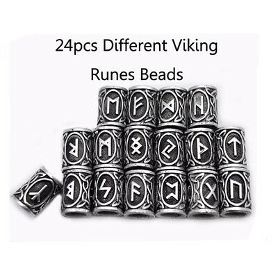 24pcs Different Kinds of Viking Rune Beads For DIY Jewelry or Hair Beard 13*9mm