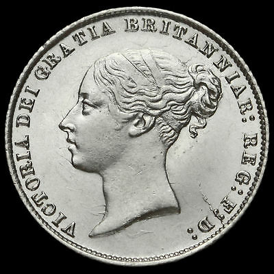 1859 Queen Victoria Young Head Silver Sixpence, Scarce, G/EF