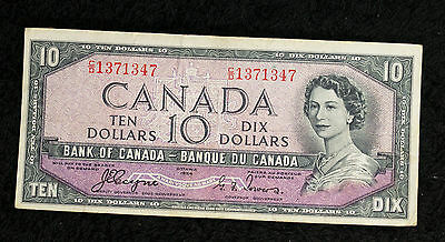 1954 Bank of Canada Devil's Face $10 Note - C/D - Nice VF Note