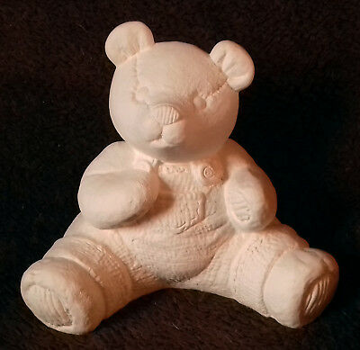 """Paint Your Own Ceramic Bisque - Small Dungaree Bear - Approx 5½"""" tall"""