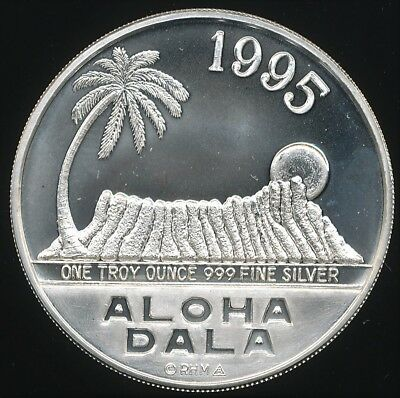 Royal Hawaiian Mint 1995 Aloha Dala 1 Troy Oz .999 Fine Proof Like Silver Round