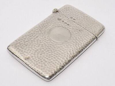 Antique Arts & Crafts Sold Silver Sterling Hammered Finish Card Case B/ham 1913