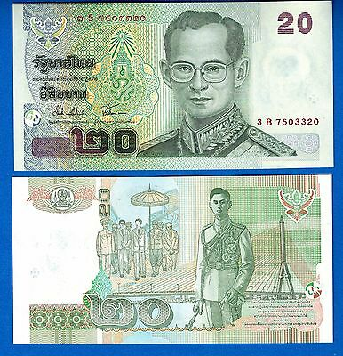 Thailand P-109 20 Baht Year ND 2003 Uncirculated Banknote FREE SHIPPING