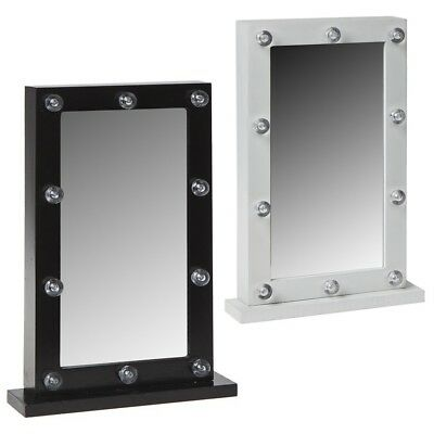 LED Lights Dressing Room Hollywood Table Mirror - White or Black - 31cm or 50cm