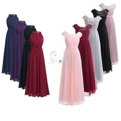 Women Ladies Chiffon Wedding Bridesmaid Dress Long Maxi Evening Prom Ball Gown