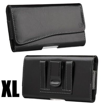 Samsung Galaxy Note 8 - Black PU Leather Belt Clip Horizontal Pouch Holster Case