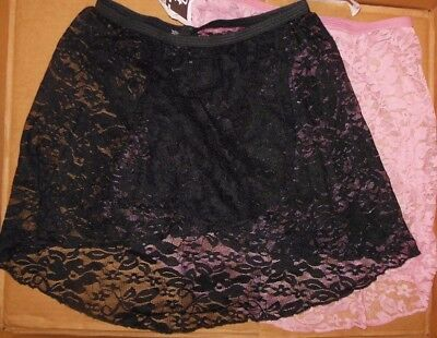 NWT Lace pull on Ballet skirt 2 colors ch/ladies Main Street dancewear Black Pnk