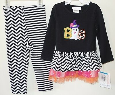 New W/Tags Bonnie Baby Boo with Ghost Halloween Outfit ~ Girl's Size 24M