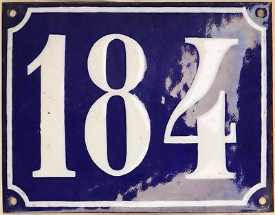 Large old French house number 184 door gate plate plaque enamel steel metal sign