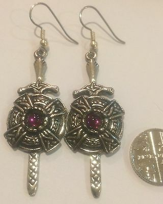 Large White Metal Celtic Sword Earrings Never Worn