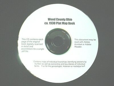 CD ~ 1930's Wood County Ohio Plat Map Book
