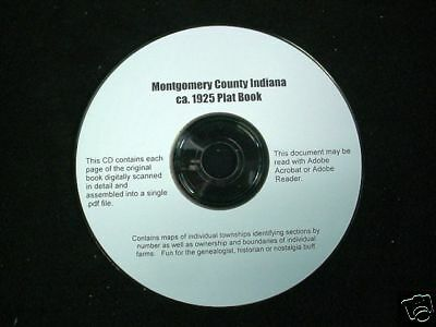 CD ~ ca.1925 Montgomery Co. Indiana Plat Map Atlas