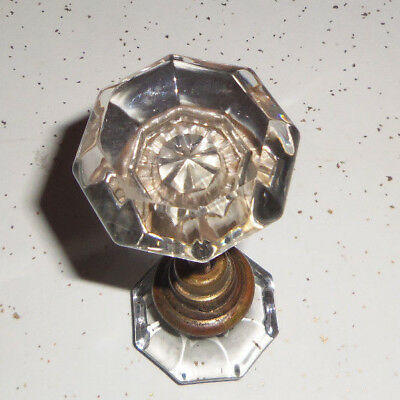 Door Knobs Set Crystal Glass Antique Vintage Doorknob Pair Clear Brass