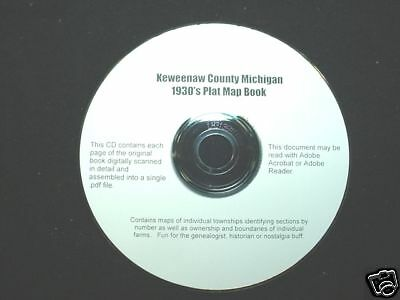 CD ~ 1930's Keweenaw Co. ~ Isle Royale ~ Michigan Plat Atlas