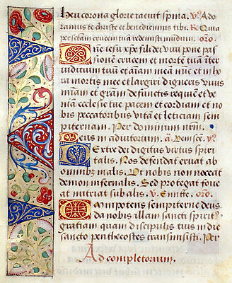 MEDIEVAL MANUSCRIPT BOOK OF HOURS LEAF c. 1470, UNUSUAL LOVELY BORDERS WITH GOLD