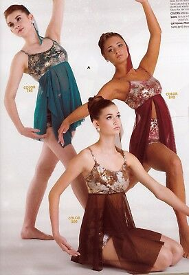 NWT Dance Costume Faux Sequin Halter Styling Clearstrap Jazz costume ch//ladies