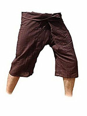 Thai Fisherman Pants Yoga Trousers Free Size 3/4 Cotton Stripe-Brown New