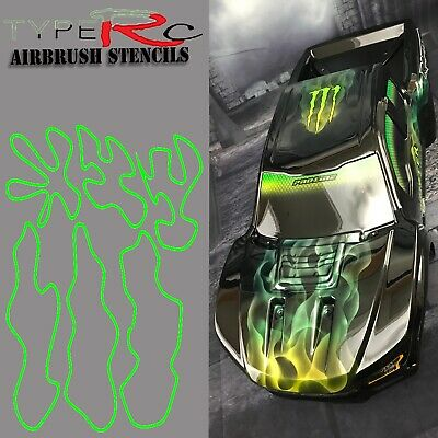 Airbrush Stencil For Rc Body, Ultimate Flame Collection, Laser Cut