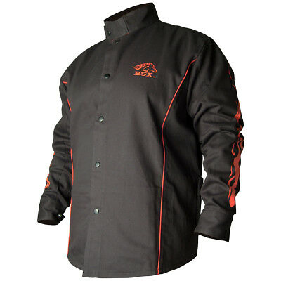 Revco Industries BX9C-M BSX Contoured FR Welding Black w/ Flames Jacket, Medium