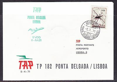 Portugal 1971 TAP  Airways TP182  Ponto Delgada to Lisbon Flight Cover