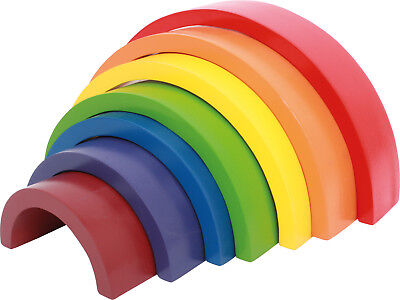 Wooden Building Blocks Rainbow Big Wood Motor Skill Colours Recognise Shapes