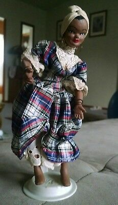 Standing Black African Negro Folk Art Doll w/Headscarf & Large Hoop Earrings 7""