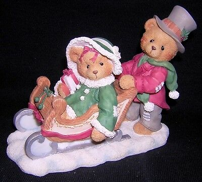 CHERISHED TEDDIES LINDSEY & LYNDON Winter Sledding 1996 Fall Exclusive NEW